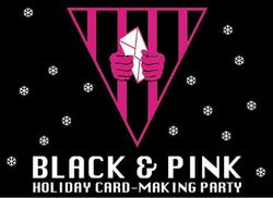 black and pink holiday card graphic