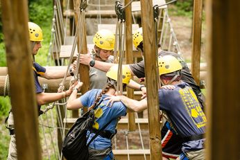 Adventure WV First Year Trips participants engaged in a team building exercise.
