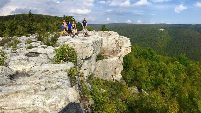 A group on top of Lions Head Rock in Dolly Sods Wilderness