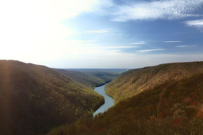 aerial view of ravens rock and cheat river in west virginia