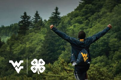 A student lifts his arms in success, standing on a large rock overlooking a vast forest valley.