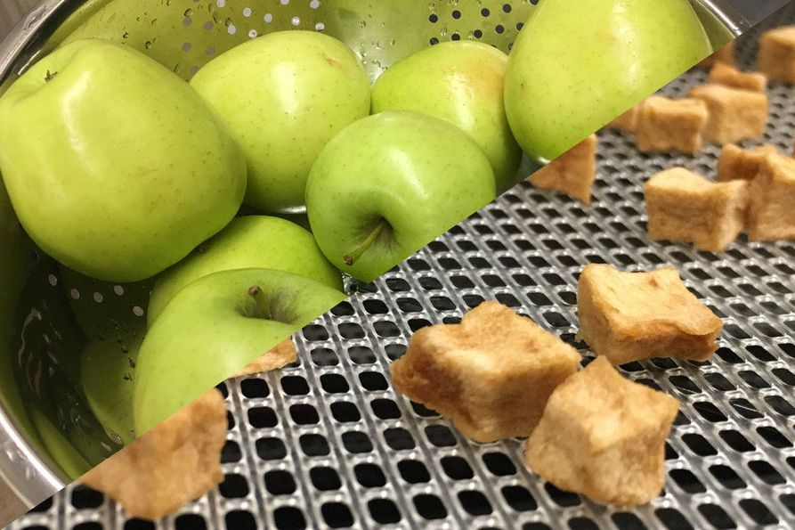 Golden delicious apples before smoking and drying on top, smoked apple chunks on bottom.