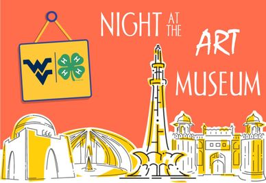 drawing of different buildings with a sign that holds the flying WV and 4-H clover.  The words Night at the Art Museum are on the graphic.