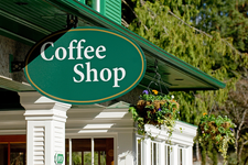 "A sign reads ""Coffee Shop"" representing WVU Extension's Community & Business focus"