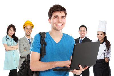 Teen with laptop in front middle with four people in background dressed in various careers