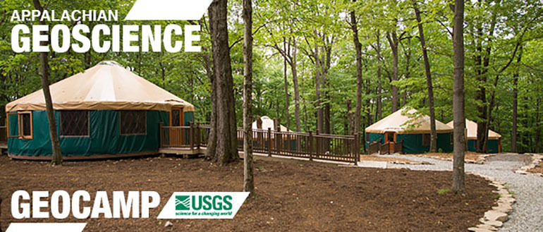 Geoscience camp - wooded area with portable round buildings for campers