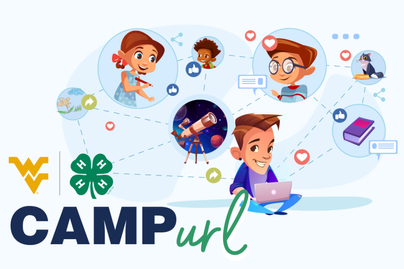 Camp URL logo with a graphic of kids connecting with others and sharing their interests digitally