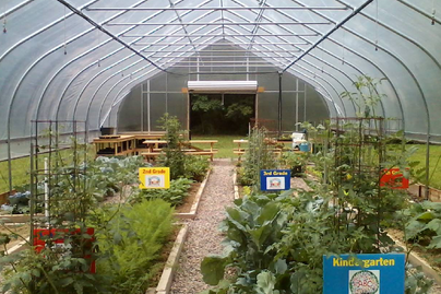 A high tunnel where elementary school students are growing fresh fruits and vegetables.