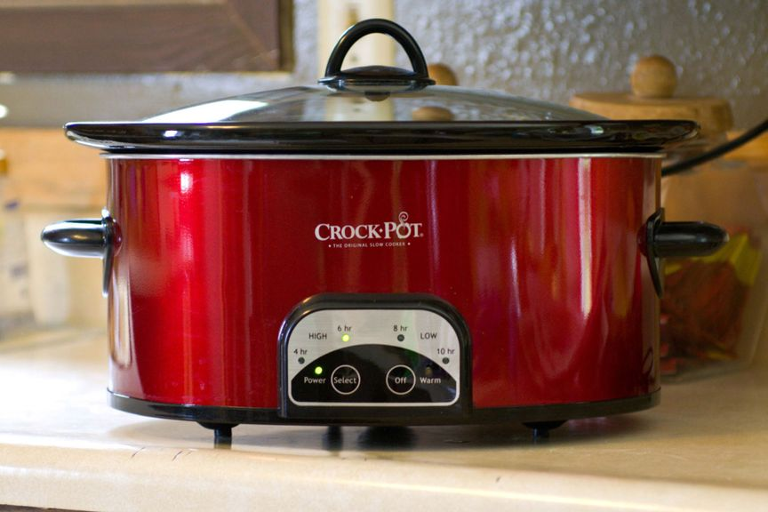 slow cooker on a counter top.