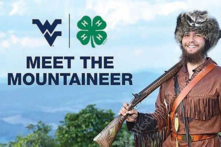 "Mountaineer holding Musket with Mountain scene in background. Text that reads ""Meet The Mountaineer"". WVU Extension Service Logo. 4-H four leaf clover logo."