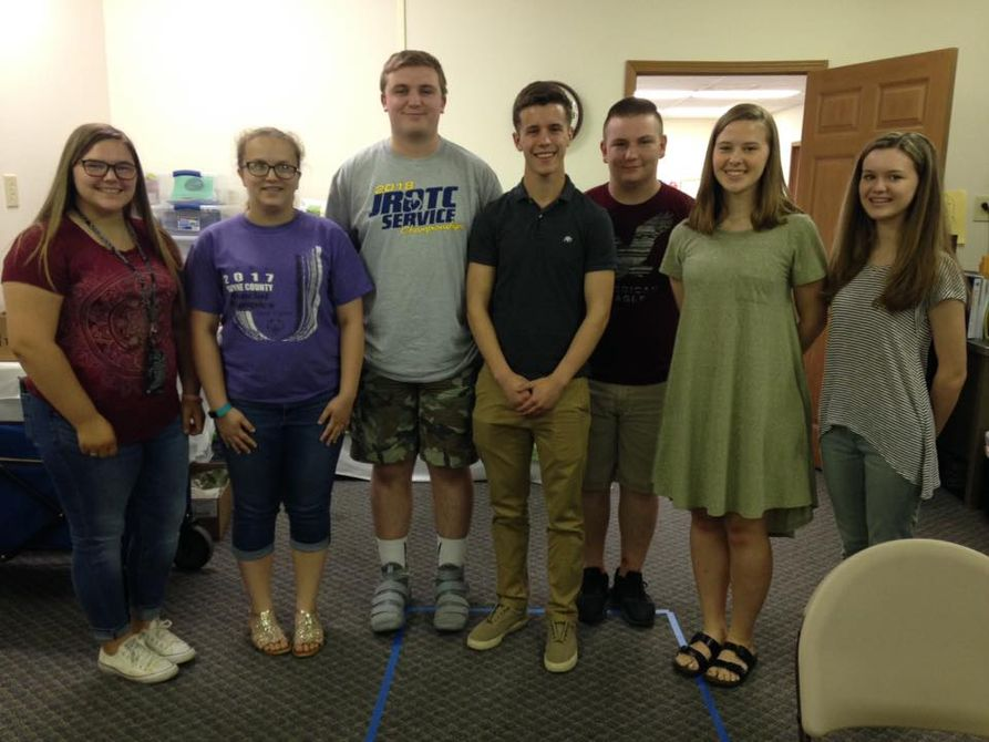 2018 Teen Camp Counselors - Wayne County  (l-r): Paige Roseberry, Kayleigh Cox, Zane Smith, Hunter Donahoe, James Cox, Sarah Ferry and Brenna Barnett (missing Mona Napier)