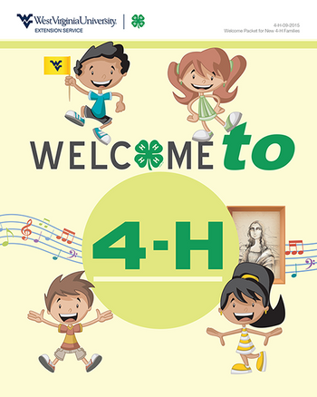 Welcome to 4-H booklet cover with animated children