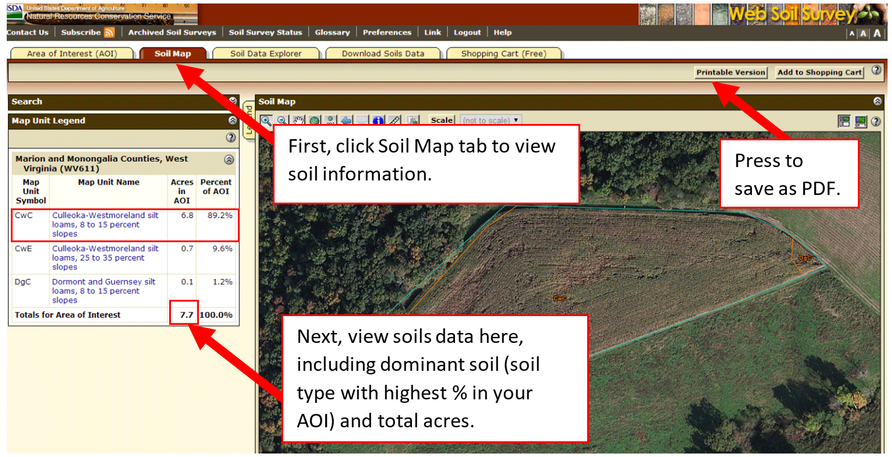An onscreen image of the web soil survey highlighting instructions.