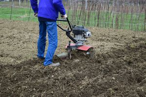 A person tills dirt with a motorized tiller.