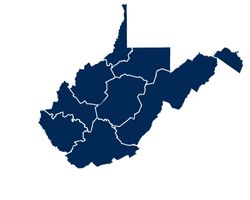 Dark blue map of West Virginia that highlights the tourism regions.