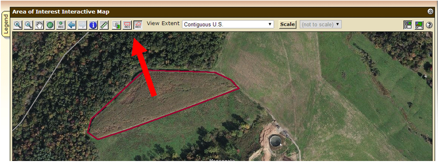 An onscreen image of the web soil survey area of interest highlighted by an arrow.