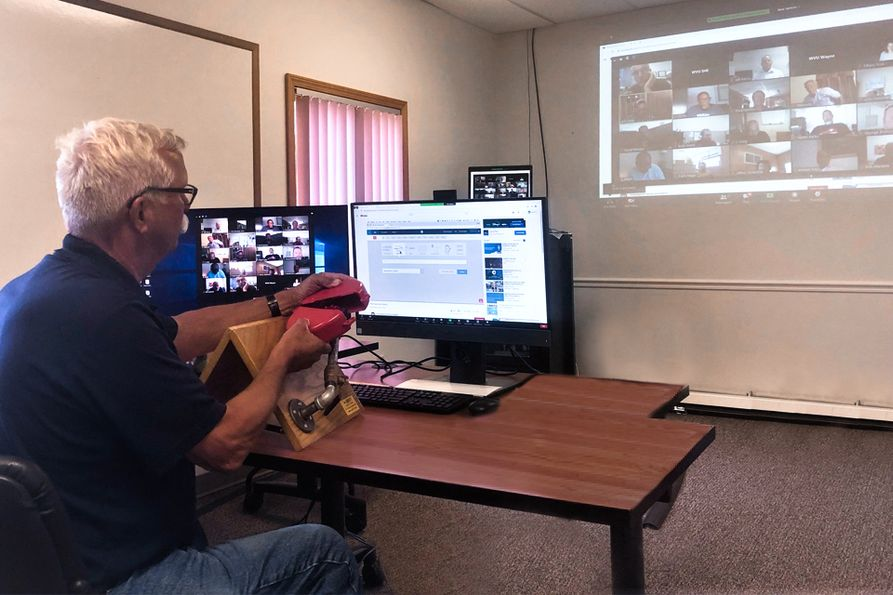 Instructor conducting OSHA training using videoconferencing