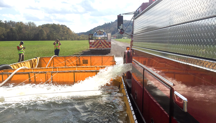 Rural Water Movement for VFD class similuates getting water from ponds, putting into trucks for use at site of fire