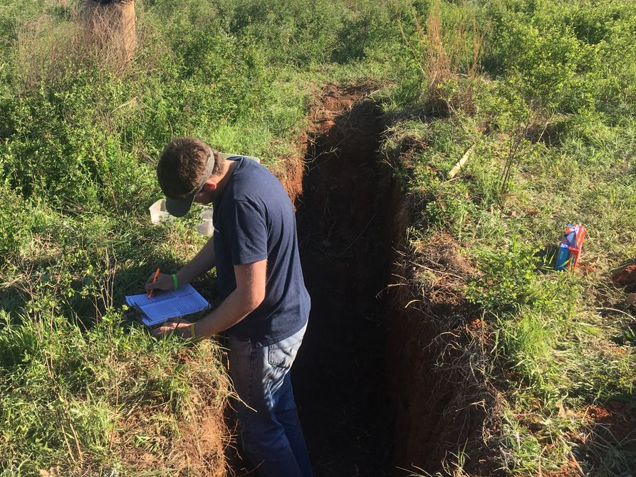 Monroe County land judging team member works from soil sampling pit during national competition