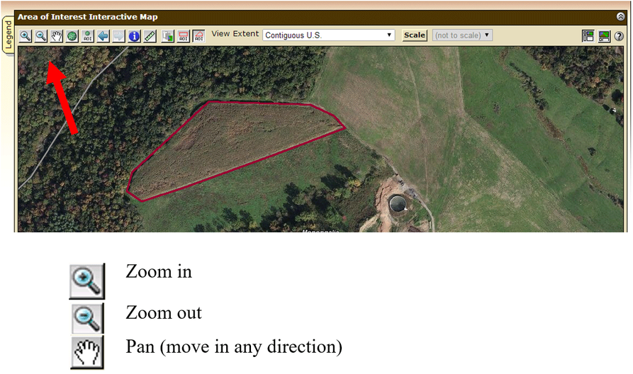 An onscreen image of the web soil survey highlighting zoom and pan icons.