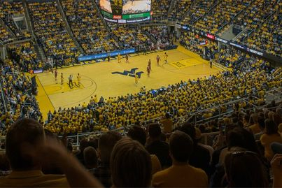 A basketball game played at the WVU Coliseum.