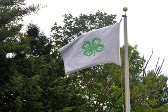 The 4-H flag and American flag wave outside the Mt. Vernon Dining Hall