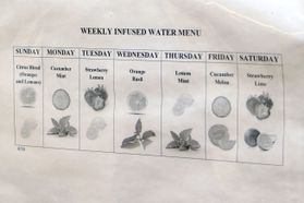 A menu of fruit-infused waters at the Martinsburg VAMC.