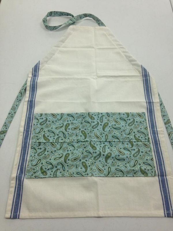 hand-made garden apron white with mint green patterned pockets