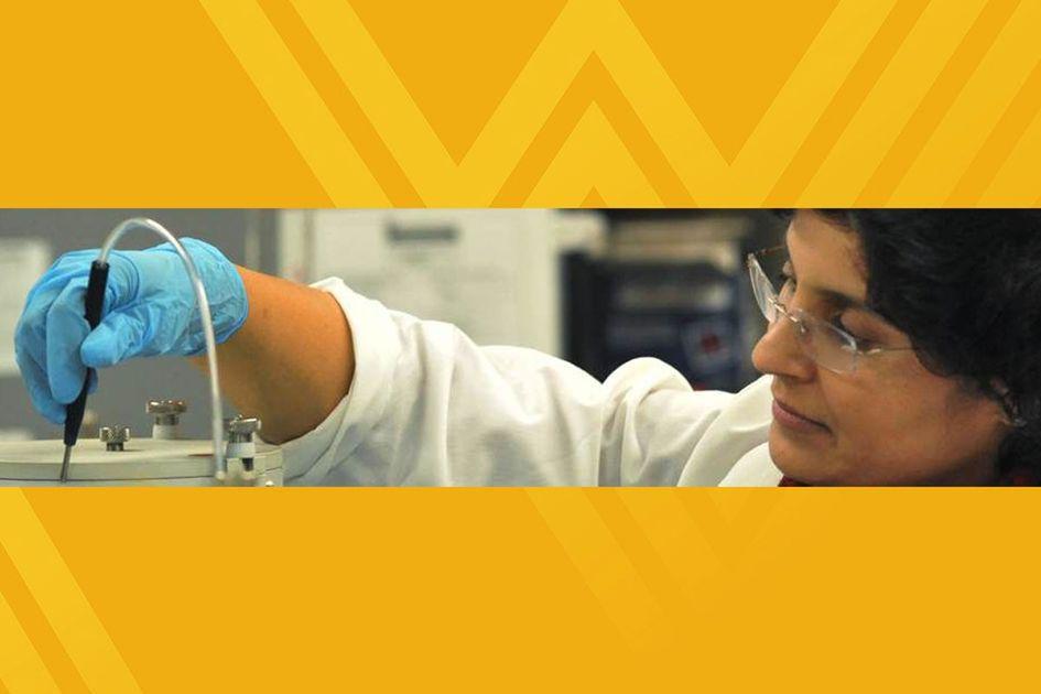 WVU researcher using research equipment in lab