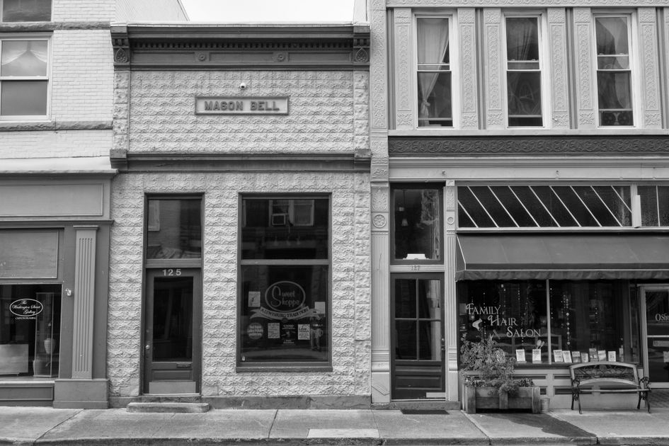 Black and white photo of buildings in downtown Lewisburg