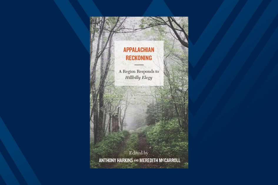 Photo of book cover for Appalachian Reckoning on blue background