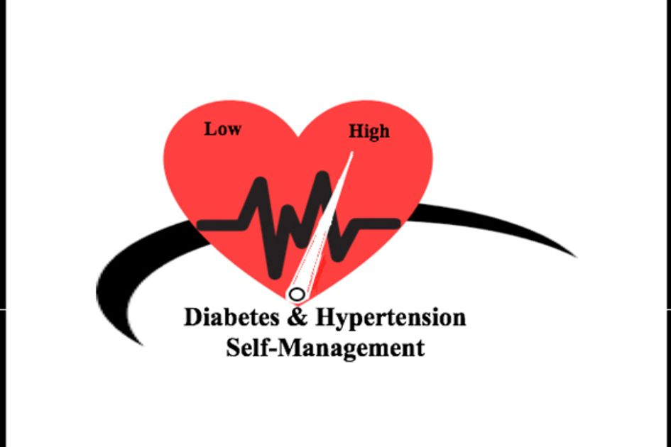 Diabetes & Hypertension Self Management graphic - A heart with low on one side, high on the other and a needle pointing towards high like the needle on a gas gauge.