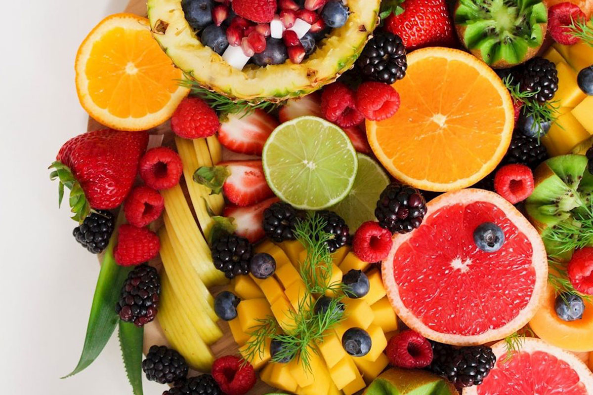 An assortment of fruit.