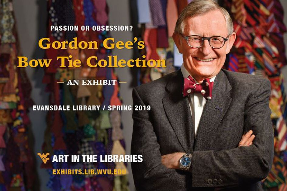 Gordon Gee's Bow Tie Collection exhibit graphic with a portrait of Gordon Gee.