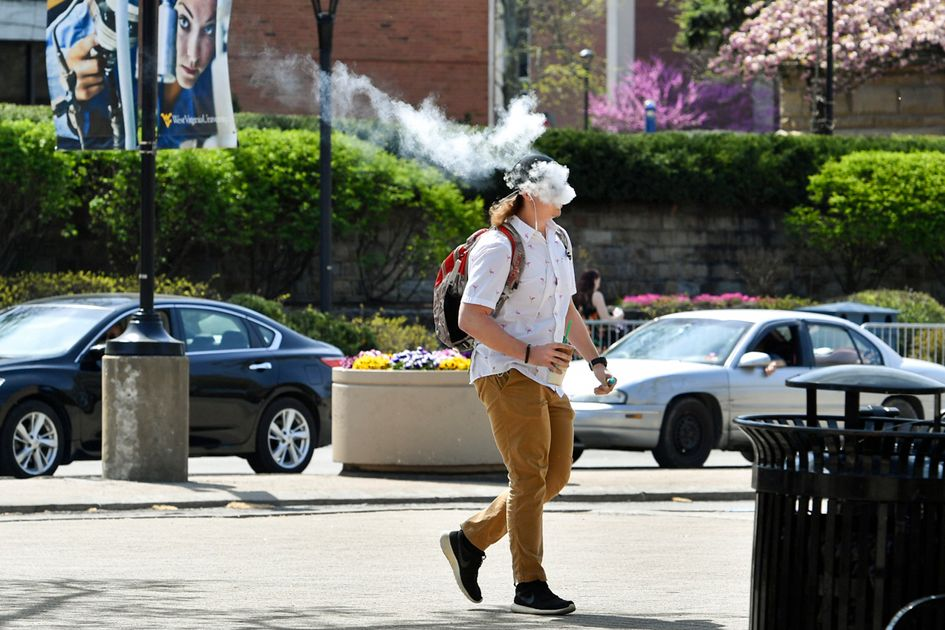 Student vaping on campus.