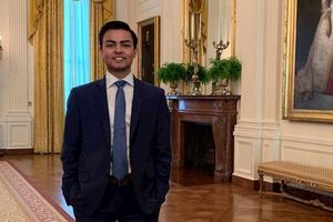Public Health student intern standing in the White House