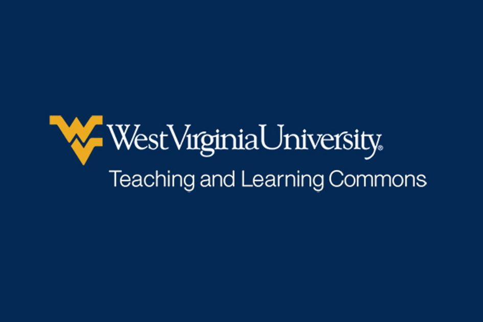 Graphic for the West Virginia University Teaching and Learning Commons with flying WV on blue background