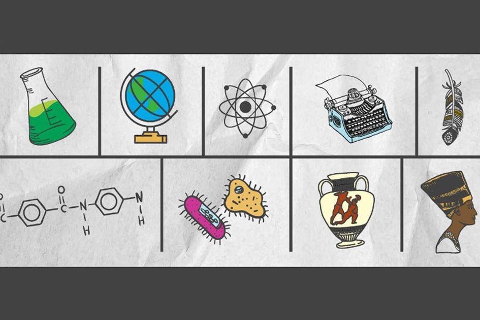 Day at the Capitol graphic - An assortment of icons portraying the event, including: a beaker, a globe, an atom, a typewriter, a feather, chemistry symbols, single-celled organisms, a vase, and a pharaoh.