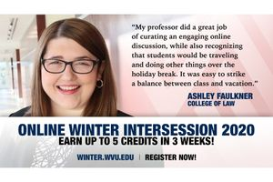smiling woman with glasses, text promoting winter intercession 2020