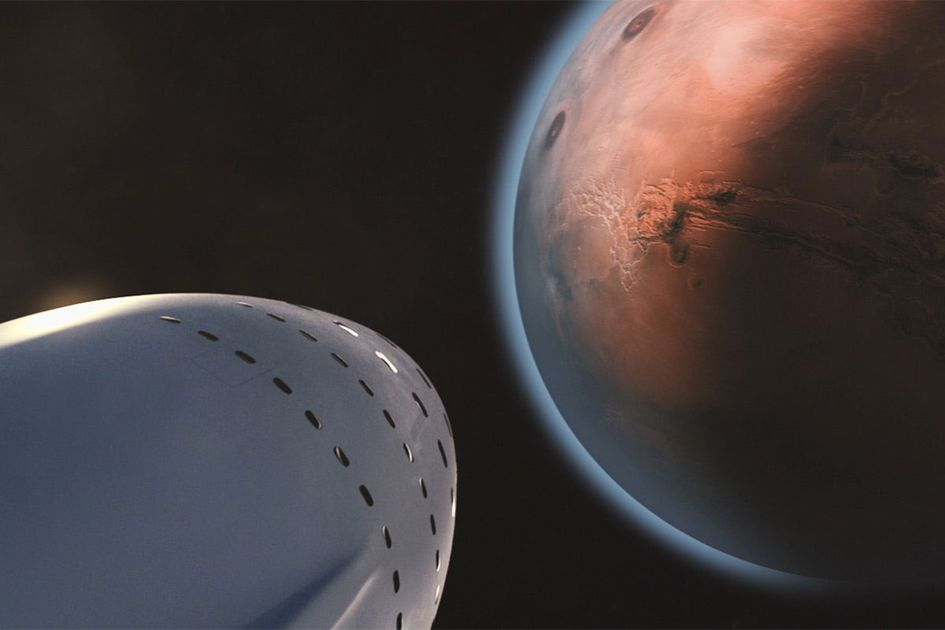 The nose of a spaceship approaching Mars.