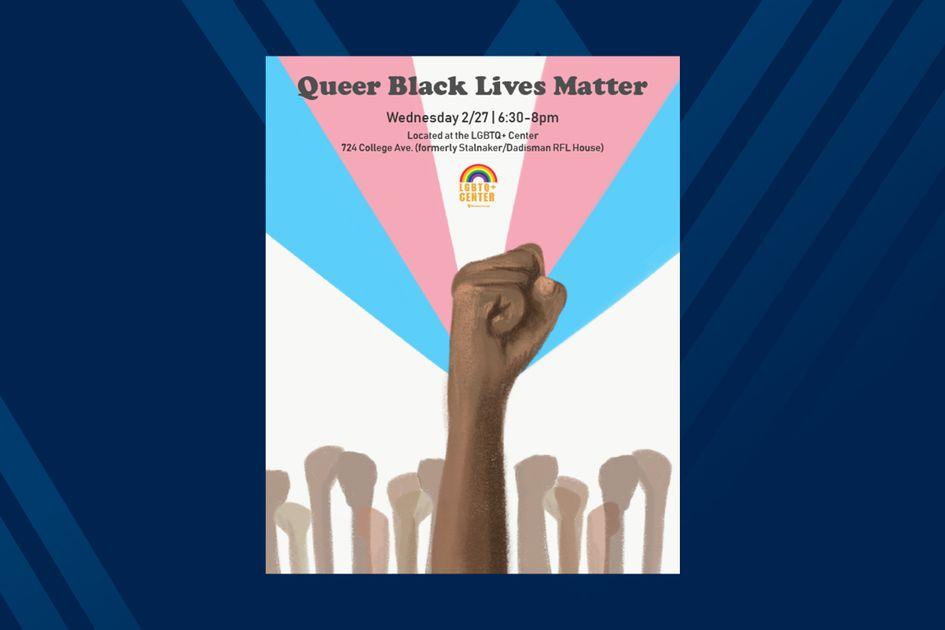 Poster for event Queer Black Lives Matter, raised black fists on blue background