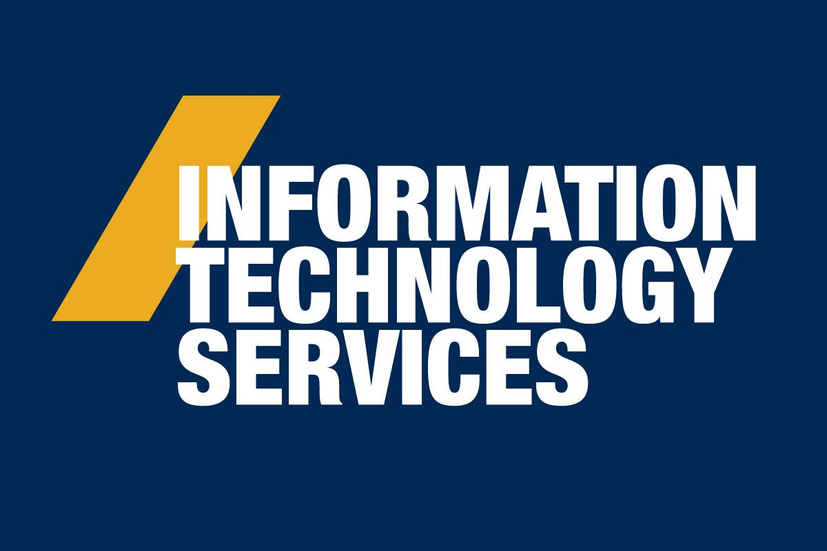 graphic for Information Technology Services, white letters on blue background with gold diagonal