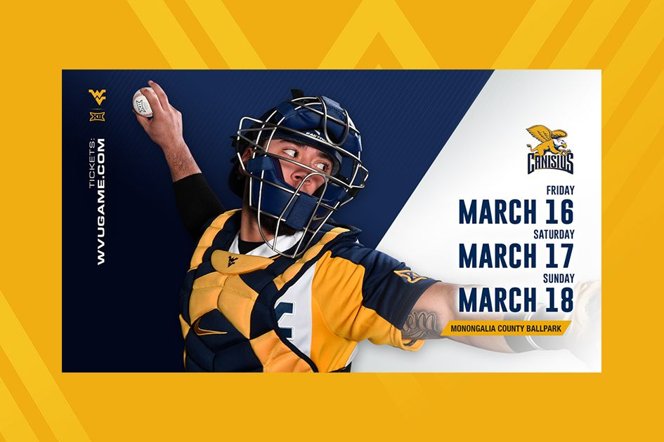 Graphic for WVU Baseball home opener schedule on blue background