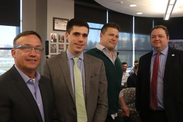 Judges who participated in the 2019 March Idea Challenge from left to right: Scott Turner, sales executive, Autodesk; Todd Latch, financial advisor, Huntington Bank; Jonathan Ohlinger, founder and CEO, VEEPIO and Cory Dennison, President, Vision Shared.