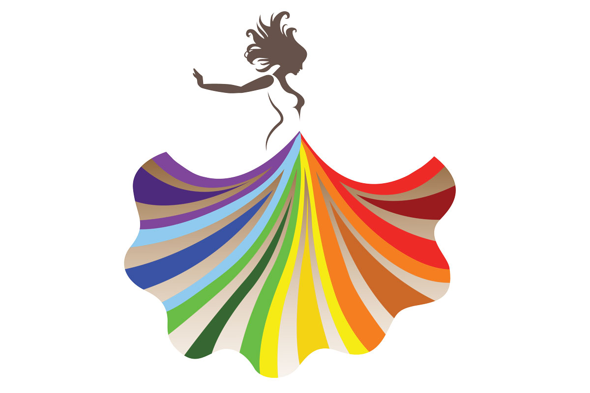 Women of Luncheon graphic - A woman in a dress made of rainbows.