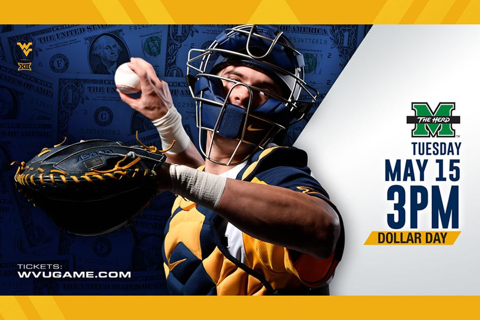 WVU baseball graphic - Tuesday May 15, 3pm Dollar Day.