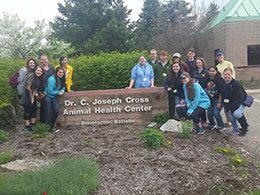 Students at Dr. C Joesph Cross Animal Health Center