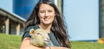 image of student holding lamb