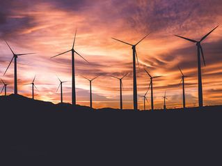 images of field of wind turbines at sunset