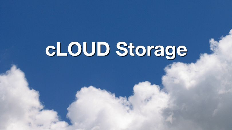 "An image of clouds with the words ""Cloud Storage"" over it."